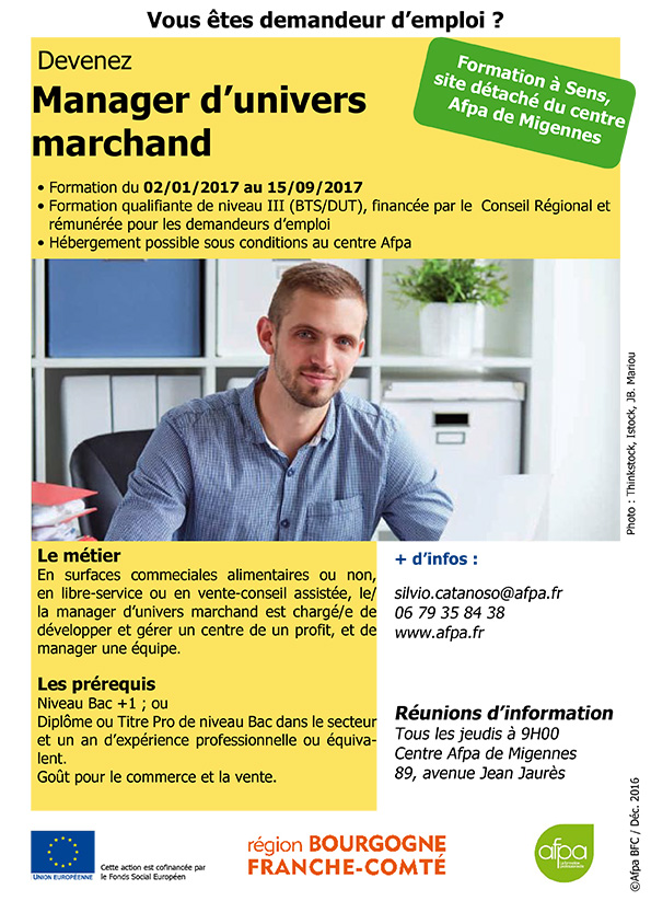 Affiche Formation Manager d'univers marchand